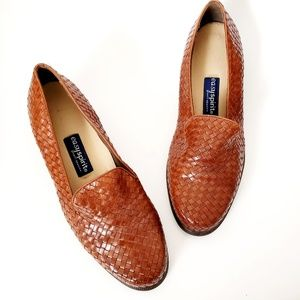 90s Vintage Brown Leather Woven Penny Loafer Heels